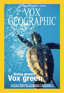 The cover of Vox Telecom's 2008 annual report, designed to look like National Geographic