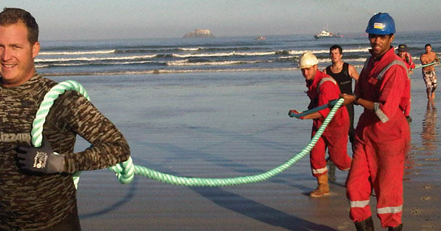 The Wacs cable coming ashore in 2011 north of Cape Town (image: Aki Anastasiou)