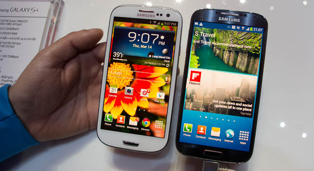 Samsung Galaxy S3, left, and the new Galaxy S4