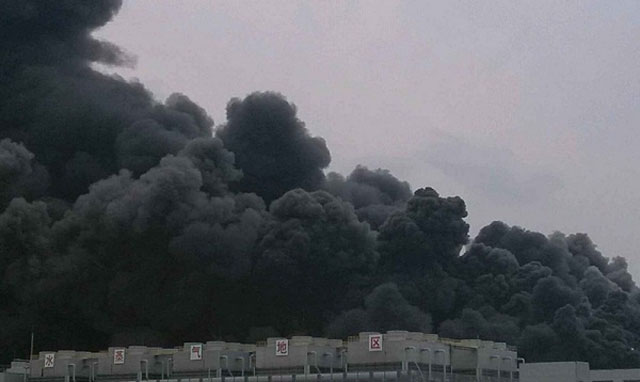The Hynix factory fire (image courtesy of Chinese website chiphell.com)