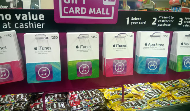 iTunes vouchers on sale at Pick n Pay (image: Greg Mahlknecht)