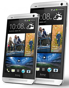 HTC One Mini, left, with the more powerful HTC One