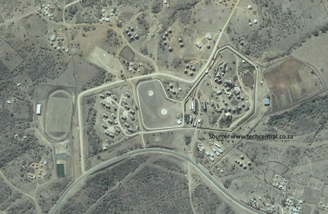 August 2013 aerial image of the Nkandla homestead