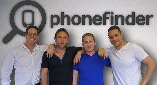 Phonefinder co-founders Tom Goldgamer, Danny Aaron, Lance Krom and Devin Karpes