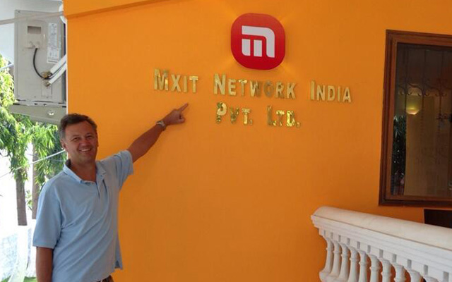 Michael Jordaan outside Mxit India's new offices