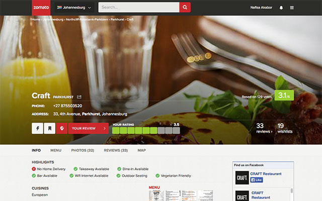 The new Zomato website