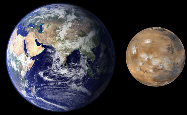 Mars, seen to scale next to the Earth (NASA/JPL/MSSS)