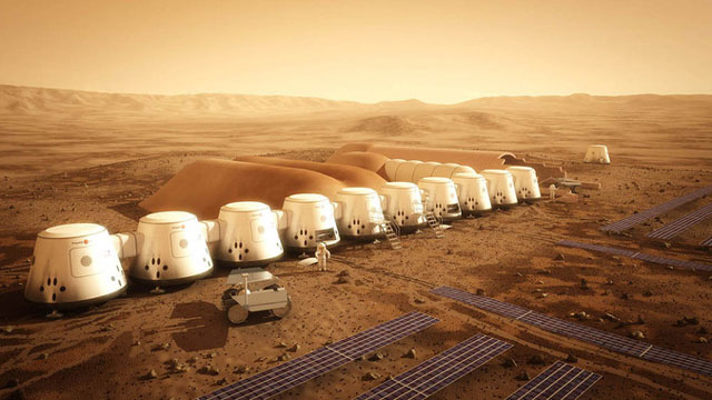 Artist's rendering of the Mars One site (Mars One/Bryan Versteeg)