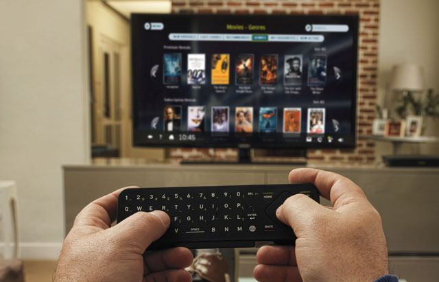 One side of the dual-sided Node remote control features a full Qwerty keyboard