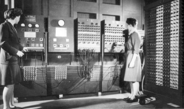 Programmers Betty Jean Jennings, left, and Fran Bilas operate Eniac's main control panel at the Moore School of Electrical Engineering