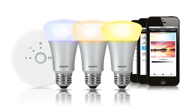 The Philips Hue LED light can display 16m colours and is remotely controllable via a smartphone app