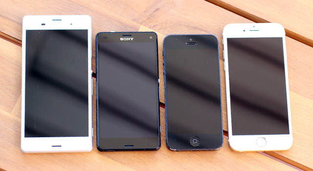 Sizing them up: Sony Xperia Z3, Sony Xperia Z3 Compact, Apple iPhone 5, Apple iPhone 6