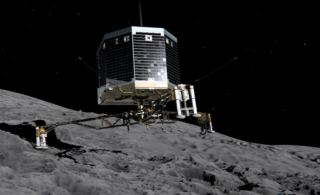Still image from animation of Philae separating from Rosetta and descending to the surface of comet 67P/Churyumov-Gerasimenko in November 2014 (image c/o ESA/ATG medialab)