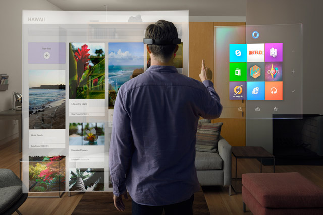HoloLens in action in the living room