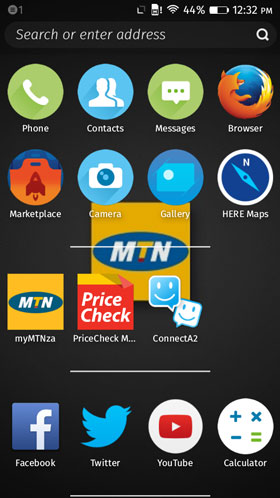 The default home screen of the MTN-supplied Alcatel One Touch Fire E