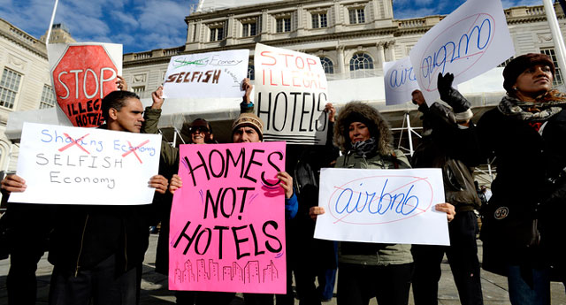 Airbnb protest in New York in January. Image: EPA