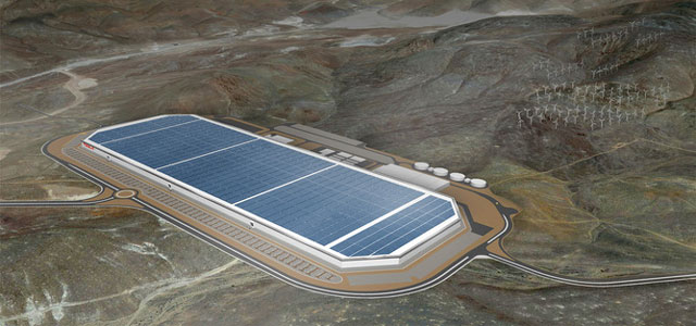 An artist's rendition of Tesla's gigafactory now under construction in Nevada which will make batteries for cars and grid energy storage