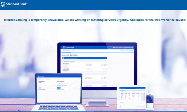The message that greeted Standard Bank online banking customers on Monday