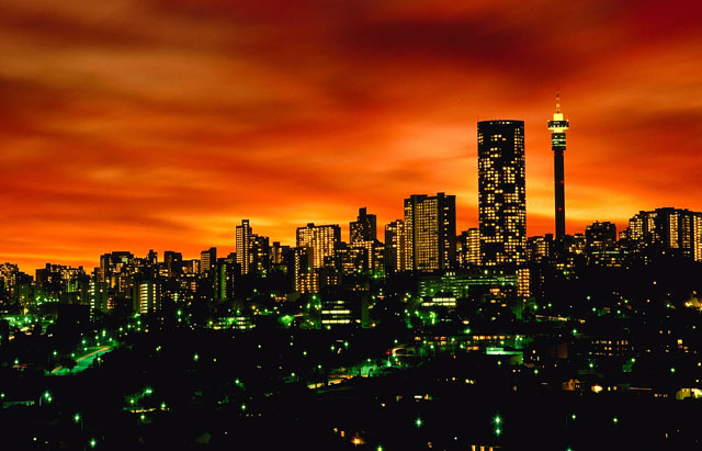 Johannesburg skyline at night (image: South African Tourism)
