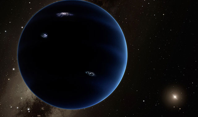 """Artist's rendition of the possible """"Planet Nine"""" looking back towards the sun. Image: Caltech/R Hurt (IPAC)"""