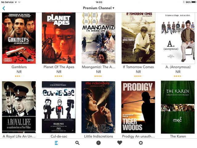 The C-flix interface on an iPad