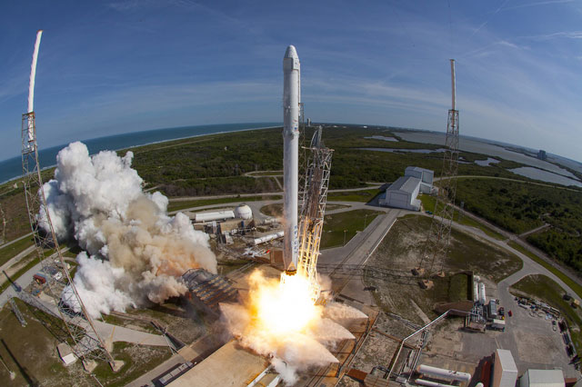 spacex s falcon 9 rocket blasts off