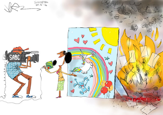 TechCentral cartoonist Jerm's take on the SABC's ban of violent protests on its channels