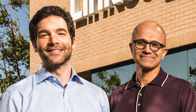 LinkedIn CEO Jeff Weiner and Microsoft CEO Satya Nadella