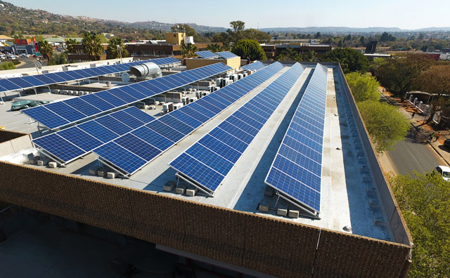 Solar panels on a building near Cresta in Johannesburg that form part of the FedGroup project